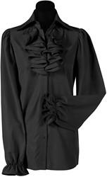 Damesblouse met Jabot Zwart Luxe