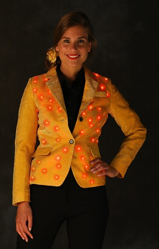 Dames Glitter Colbert Goud met LED-verlichting