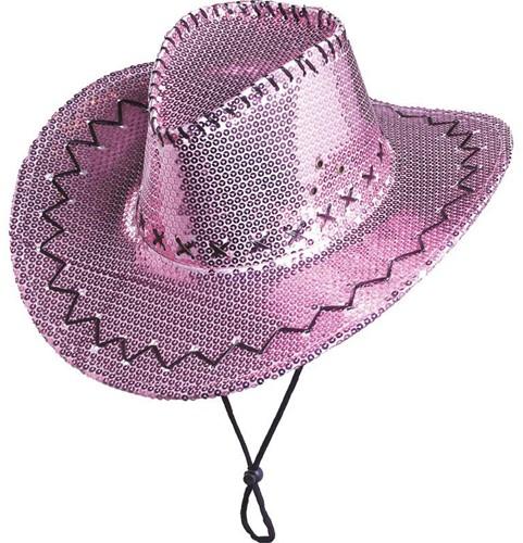 Cowboyhoed Pailletten Glitter Roze