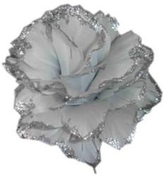 Bloem Zilver met Glitter aan IJzerdraad