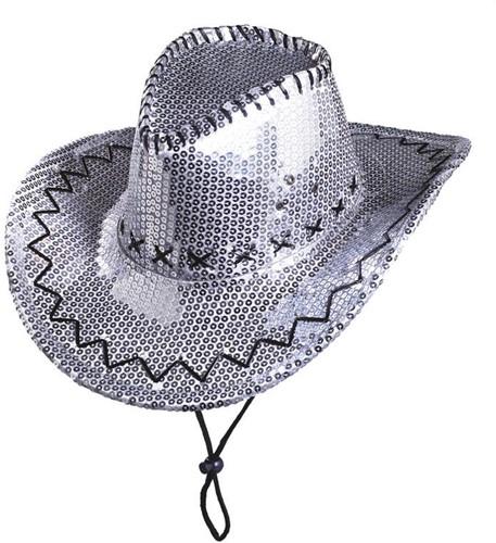 Cowboyhoed Pailletten Glitter Zilver