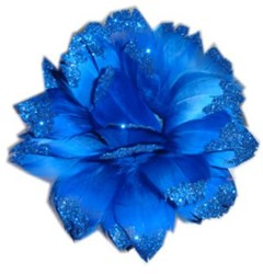 Bloem Blauw met Glitter aan IJzerdraad