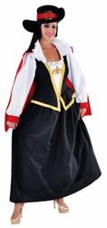 Dameskostuum Musketier Lang Luxe