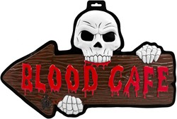 3D Deurbord Halloween Blood Cafe