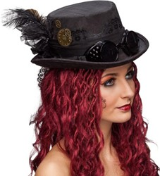 Dames Hoge Hoed Steampunk Zwart Luxe met Bril