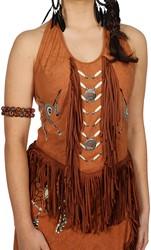 Dames Topje Indiaanse / Hippie Bruin