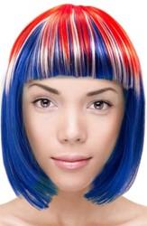 Pruik Bobline Rood Wit Blauw