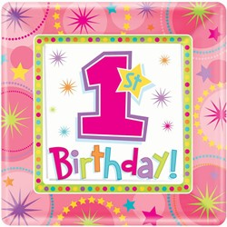 Bordjes 1e Birthday Girl 8st.