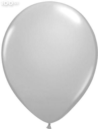 Ballonnen Metallic Zilver 35cm - 100 stuks