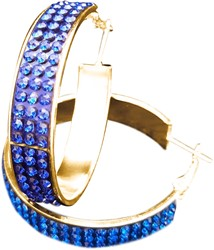Gouden Oorbellen met Blauwe Strass (4cm)