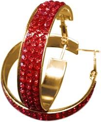 Gouden Oorbellen met Rode Strass (4cm)