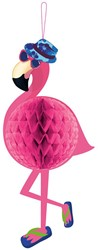 Decoratie Honeycomb Flamingo (58x22cm)