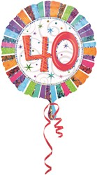 Folieballon 40th B-day Prismat 45cm