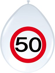 Ballonnen 50 jaar Verkeersbord 8st