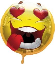 Folieballon Emoticon Smile Hearts 43cm
