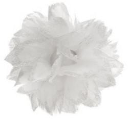 Bloem Wit met Glitter aan IJzerdraad