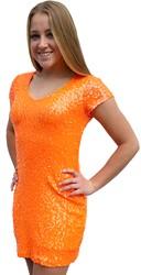 Jurkje Pailletten Diva Neon Oranje