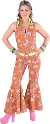 Dames Seventies Jumpsuit Paisley (Bruin/Oranje)