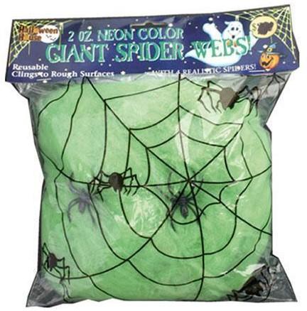Spinnenweb 50gr. met 2 spinnen Groen