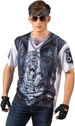 Heren T-shirt Stoere Biker (Fotorealistisch)