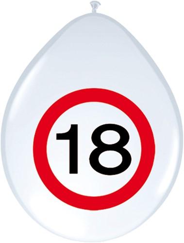Ballonnen 18 jaar Verkeersbord 8st