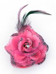 Bloem met Diamant op Speldje en Elastiek Pink