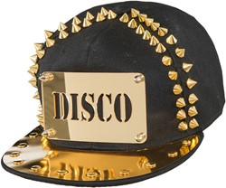Cap Disco Zwart/Goud met spikes