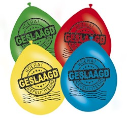 Ballonnen Geslaagd Gefeliciteerd (8st)