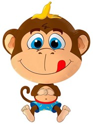 Folieballon Happy Monkey - Aap (79x57cm)