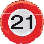 Folieballon 21 jaar Verkeersbord