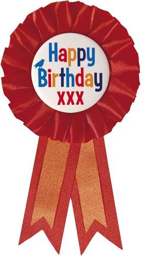 Rozet Happy Birthday Rood
