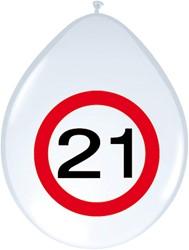 Ballonnen 21 jaar Verkeersbord 8st