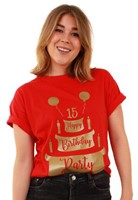 Toppers T-Shirt Happy Birthday Party Rood