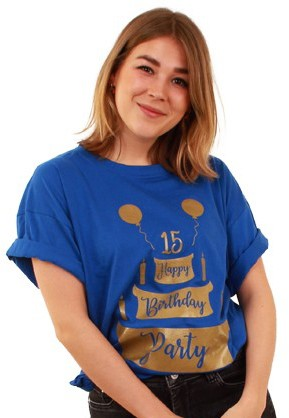 Toppers T-Shirt Happy Birthday Party Blauw
