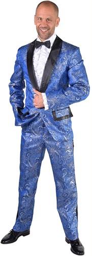 Heren Smoking Luxe Brokaat Blauw