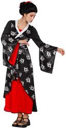 Dameskostuum Japanse Dame Zwart-Rood