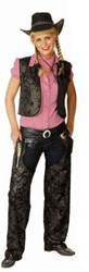 Dames Cowboy Chaps Zwart