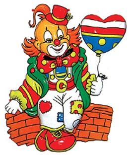 Wanddeco Clown op Muurtje (40x30cm)