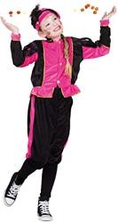 Kostuum Zwarte Piet Roze-Zwart voor kinderen