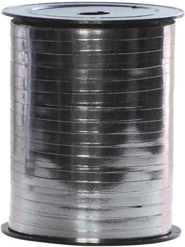 Cadeaulint Metallic Zilver 5mm Breed, 250m op Rol