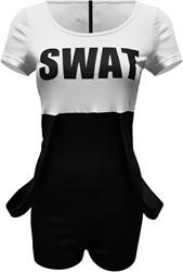 Dameskostuum Catsuit SWAT (Zwart-Wit)