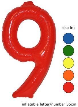 Opblaas Cijfer 9 35cm Rood