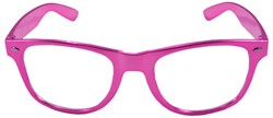 Blues Brother Bril Metallic Pink met blank glas