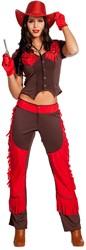 Dameskostuum Cowgirl Bruin-Rood