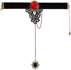Armband Zwart met Rode Roos