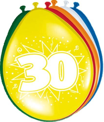 Ballonnen 30 jaar 8st