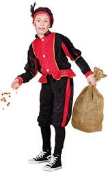 Kostuum Zwarte Piet Rood-Zwart voor kinderen
