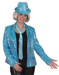 Dames Colbert Pailletten Turquoise
