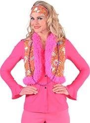 Dames Hippie Vest Paisley (Bruin/Oranje)