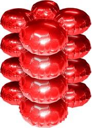 Cluster Folieballonnen Rond Metallic Rood 10st.